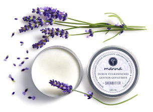 durch vulkanite gefilterte sheabutter lavendel teebaumöl - empfohlen manna