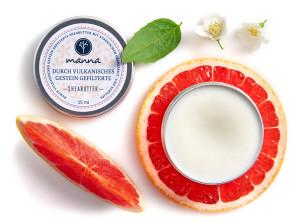 durch vulkanite gefilterte sheabutter - grapefruit- und neroliöl - empfohlen manna