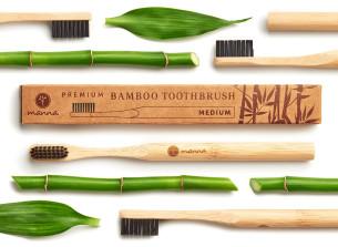 premium bambus zahnbürste für erwachsene mit schwarzen, mittelstarken borsten - empfohlen manna
