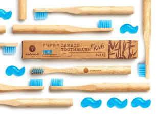 prémium bambusz gyerek fogkefe kék, puha sörtével - ajánlott manna
