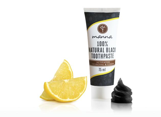 manna fluoridmentes fekete fogkrém citrommal