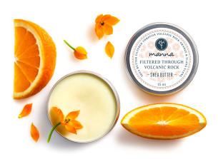 filtrowane przez wulkaniczne skały masło shea z pomarańczą - polecamy manna