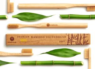 periuță de dinți premium din bambus pentru adulți, cu peri moi - recomandat manna